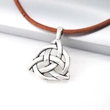 Vintage Silver Triangle Trinity Knot Celtic Alloy Pendant Brown Leather Necklace