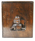 ANTIQUE WOOD CHILDS LAP DESK w  Mirror  Compartments Vanity CARVED FIGURE on LID