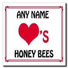 Love Heart Honey Bees Personalised Coaster
