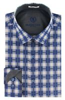 BUGATCHI Shaped Fit Plaid Sport Shirt Blue NWT