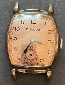 Vintage Bulova Cal 10BC Men's Watch Running Ticks Gold Case 17j Swiss