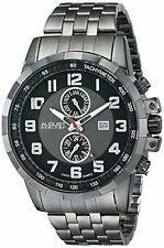 NEW August Steiner AS8153BK Men's Swiss Month Date GMT Black Dial Gunmetal Watch