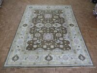 10 x 13'5 Hand Knotted Brown Oushak Oriental Rug Ushak G7873