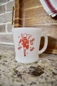 VINTAGE 1960's ANCHOR HOCKING FIRE KING USA BATMAN ROBIN D-HANDLE COFFEE MUG CUP