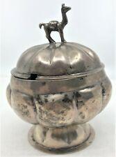 Colonial Era Peruvian Sterling Silver Hand Hammered Covered Bowl Tureen Llama