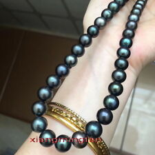 "AAAAA 18""9-10mm REAL natural round south sea black GREEN pearl necklace 14k gold"