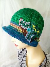 Ladies Green/Blue Crochet Cloche/Bucket Hat, Full Brim. Handmade Crochet Rose.