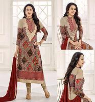 97bf8faa43 FAUN GRGT INDIAN LONG SALWAR KAMEEZ SUIT PARTY DRESS MATERIAL w EMBR LADIES  DEN