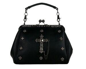 GOTHX METAL CROSS Oversize Purse Ladies Handbag Punk Rock Goth Gothic PU Bag