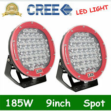 2X 9inch 185W CREE LED Round Work Light Spot Driving Head Light offroad Jeep RED