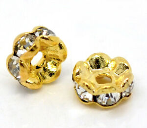 Beads - 5mm - Gold Plated - Clear Rhinestone - Rondelle -  Hole 1.2mm - 30Pcs