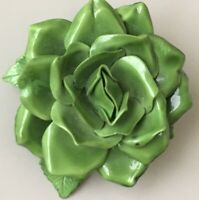 Vintage molded plastic green flower brooch