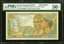 French Equatorial Africa 500 Francs ND (1949) P 25s Specimen PMG 50 AU Condition