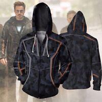 US SHIP Avengers Infinity War Iron Man Tony Stark Hoodie Camouflage Coat Jacket