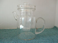 Vtg Blown Clear Glass Handled Tea Pot Beverage Pitcher w Ice Cube Holder Insert