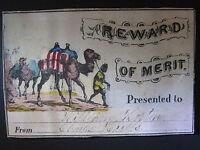 ANTIQUE CIVIL WAR OR RECONSTRUCTION ERA PATRIOTIC CAMEL COLORED REWARD OF MERIT