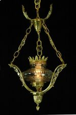 VINTAGE EUROPEAN BRASS & CRYSTAL FOUNT LIGHT FIXTURE