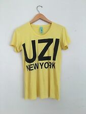 UZI NY New York NYC Yellow SOFT THIN Fitted Tee T Shirt L