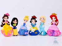 6pcs Disney Princess Mini Dolls Resin Character Figures Toy Miniature 85mm 2019