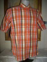 Chemise habillé coton écossais orange GANT Kandloom madras XL 44  manche courte