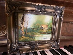 Tiny Original Oil (?) Painting Signed Waugh Framed Vintage