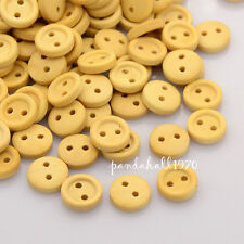 50pcs 2-Hole Garment Accessories Tiny Flat Round Wooden Sewing Buttons 10x3mm