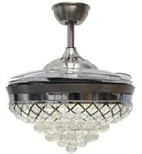42'' Ceiling Fan Light Fandelier K9 Crystal LED Invisible Chandelier Fan Light