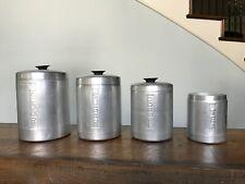 Mid Century Brushed Aluminum Canisters Flour Sugar Coffee Tea Italy