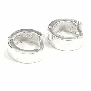925 Sterling Silver Plain 8MM Genuine Solid Men & Ladies's Huggies Earrings