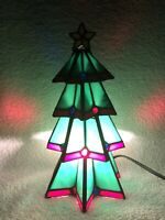 Holiday Living Christmas Tree Tiffany Style Stained Glass Accent Lamp, Light