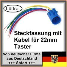 Steckfassung mit Kabeln für 22mm Taster / Schalter mit LED Beleuchtung