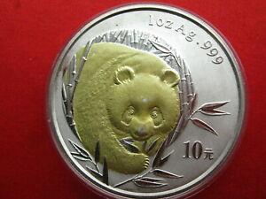 China 2003, WWF Panda 10 Yuan Silber, UNC, vergoldet (p059)