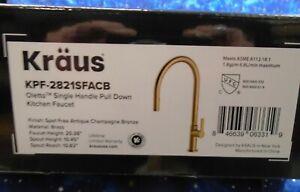 Kraus KPF-2821SFACB Oletto High-Arc Single Handle Pull-Down Kitchen Faucet, 21 I