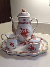 HEREND Complete Tea Service: Tray, Pot, Creamer, Sugar Bowl Chinese Bouquet Rust