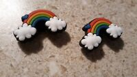 Lot of 2  Rainbow & clouds shoe charms for Crocs shoes. Craft or scrapbooking