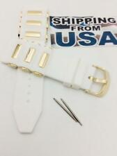24mm White Rubber Diver Band strap fits INVICTA Russian Gold bullet & Pins.