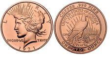 1-oz COPPER COINS * 1921 PEACE DOLLAR DESIGN* .999 COPPER COINS ROUND 1-5-20