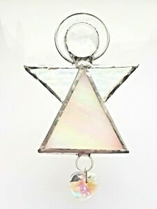 White Guardian Angel stained glass heart suncatcher house warming car hanging