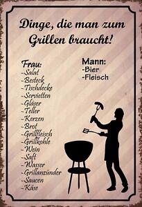 Dinge zum Grillen Mann vs. Frau Blechschild Schild Tin Sign 20 x 30 cm SM0157-X