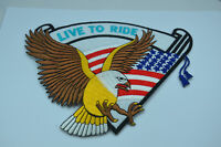 LIVE TO RIDE USA EAGLE MOTORCYCLE 8' 20cm Iron Sew On Patch Badge Applique