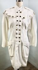 Vintage 80's White Military Cotton Twill Wiggle Dress Small