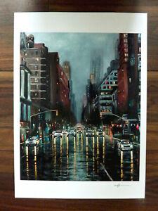 New York City Rain Cityscape Signed Poster Print Art A3 Artwork By Warren Green