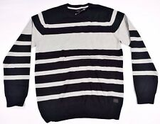 Quicksilver Mens William Fall Striped Long Sleeve Sweater SZ M Black Gray