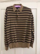 """John Smedley extrafine lambs wool jumper camel brown striped make in England 42"""""""
