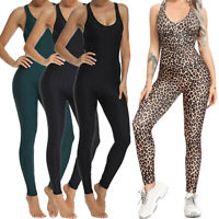 Womens Yoga Jumpsuit Pants Leggings Gym Sports Workout Fitness Rompers Bodysuit