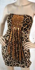 Sexy Animal Print Leopard Spots Big Cat Tube Top Sequined Mini Dress 2 Sizes USA