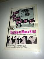 SIN OF MONA KENT Movie Pressbook 1961 Sexploitation Drama Sandra Donat