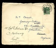 MALAYA 1939 CENSORED COVER TANGLIN POSTMARK to GRANTHAM FORWARDED CANTERBURY 2c