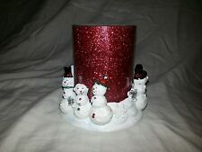 "SNOWMAN CERAMIC CANDLE HOLDER Home Decor with 4.75 x 4.5"" Red Pilar CANDLE NEW"