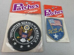 Vintage Voyager USA Iron- On Embroidered Patches Set Of 2 - NIP